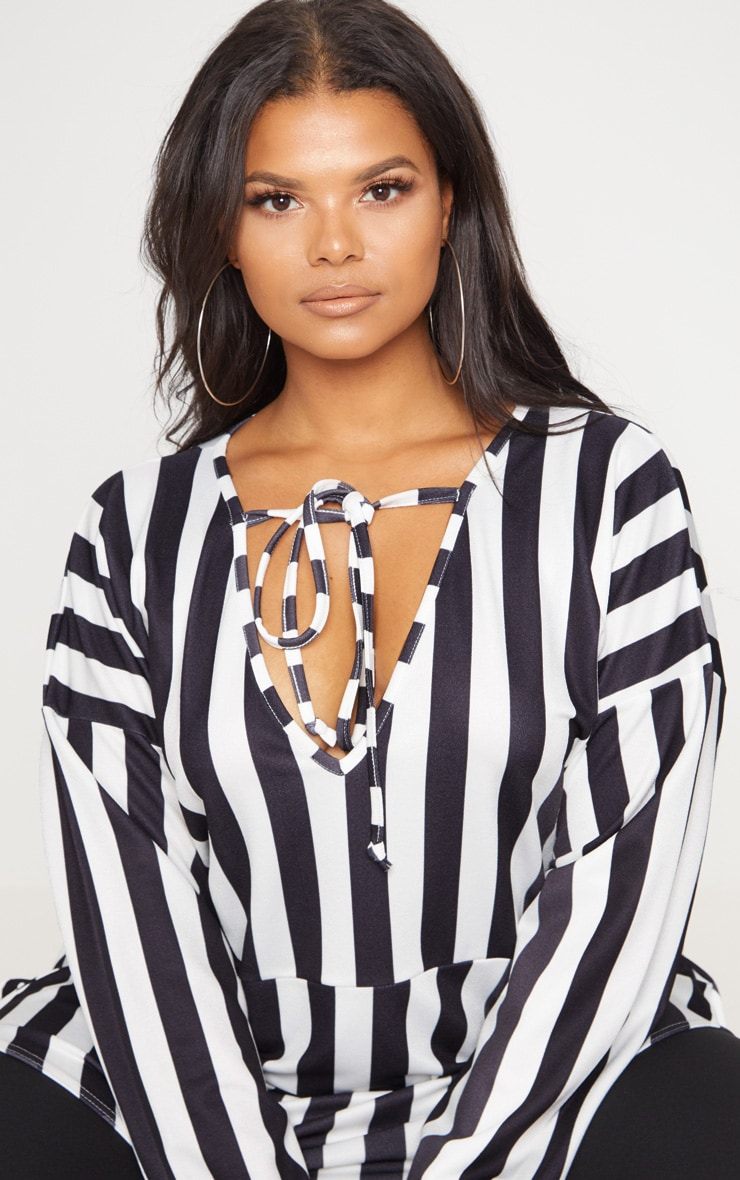 Plus Monochrome Striped  Print Tie Detail Floaty Top 5