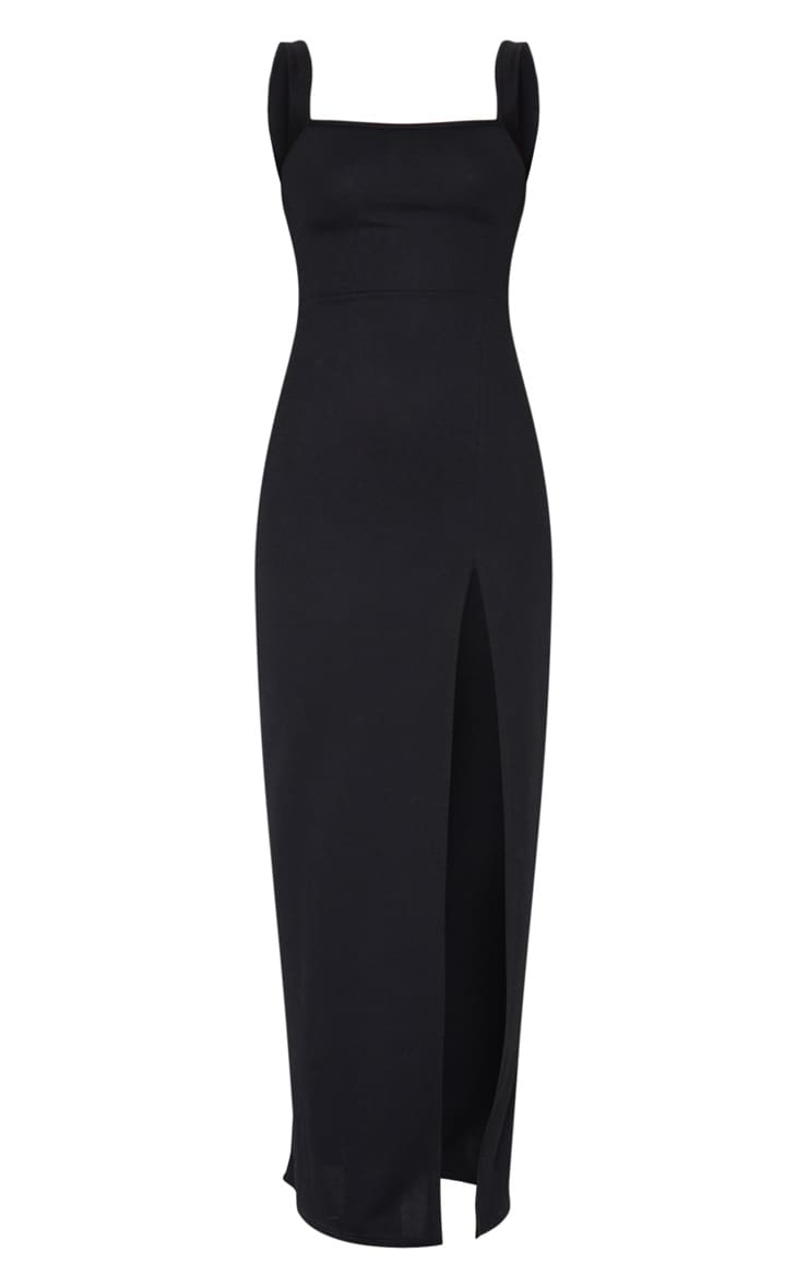 Black Straight Neck Maxi Dress 5