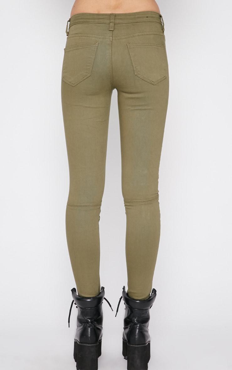 Perrine Khaki Zip Pocket Skinny Jean  4