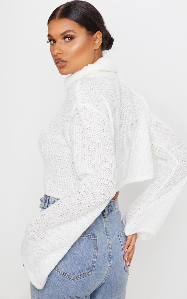 Cream Boucle Crop Knitted Roll Neck Sweater 2