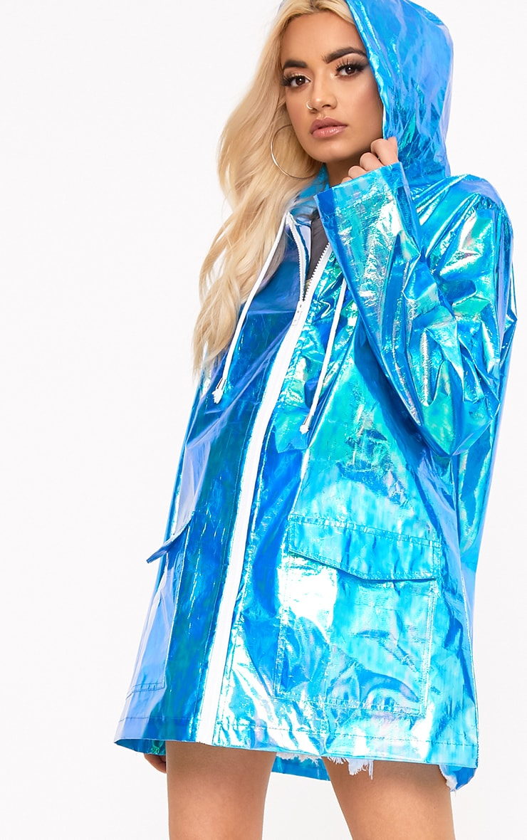 Cobie Blue Holographic Rain Mac 1