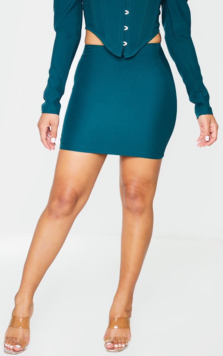 Bottle Green Woven Mini Skirt 2