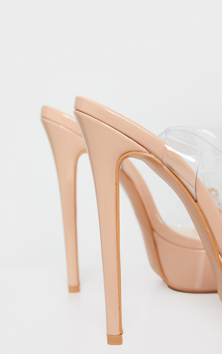 Nude Patent PU Platform Clear Strap High Heel 3