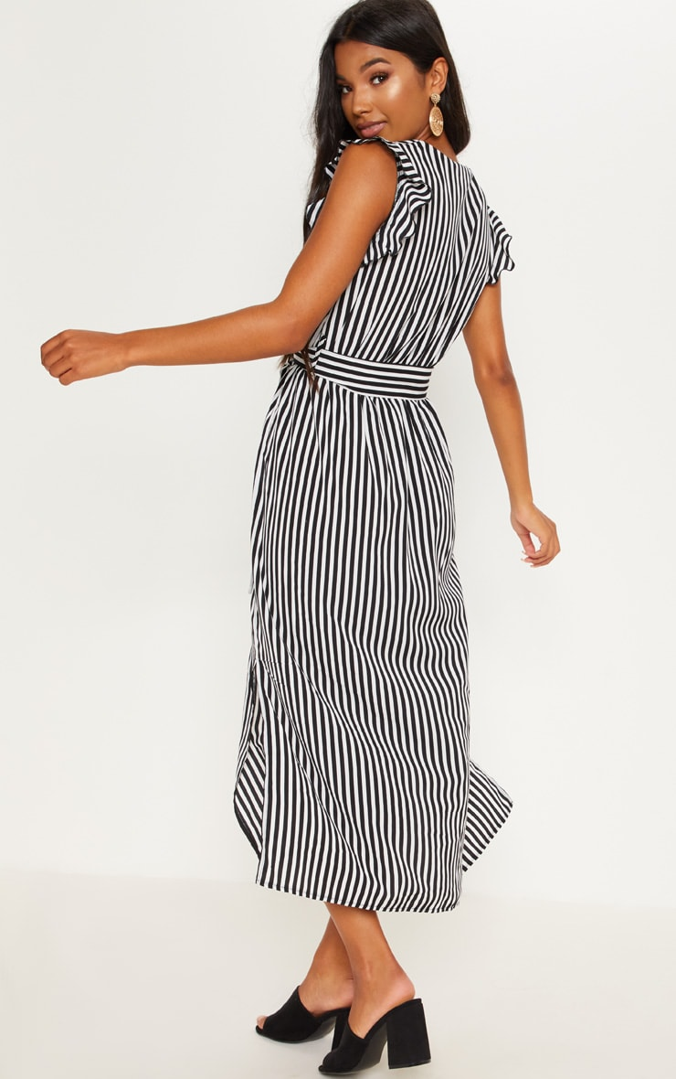 Monochrome Stripe Satin Frill Shoulder Split Midi Dress 2