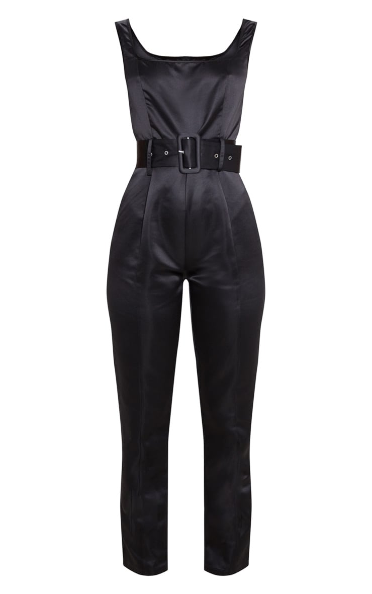Black Bonded Satin Belt Detail Jumpsuit 3