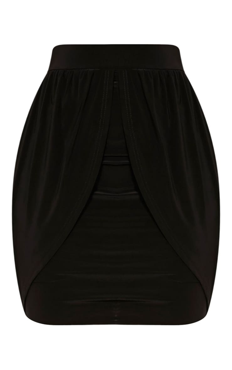 Kelsie Black Drape Layered Slinky Mini Skirt 2