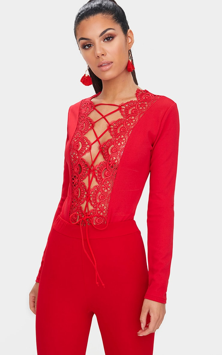 Red Lace Up Longsleeve Thong Bodysuit 2