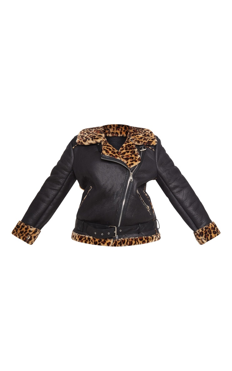 Plus Tan Leopard Print Aviator Coat 3