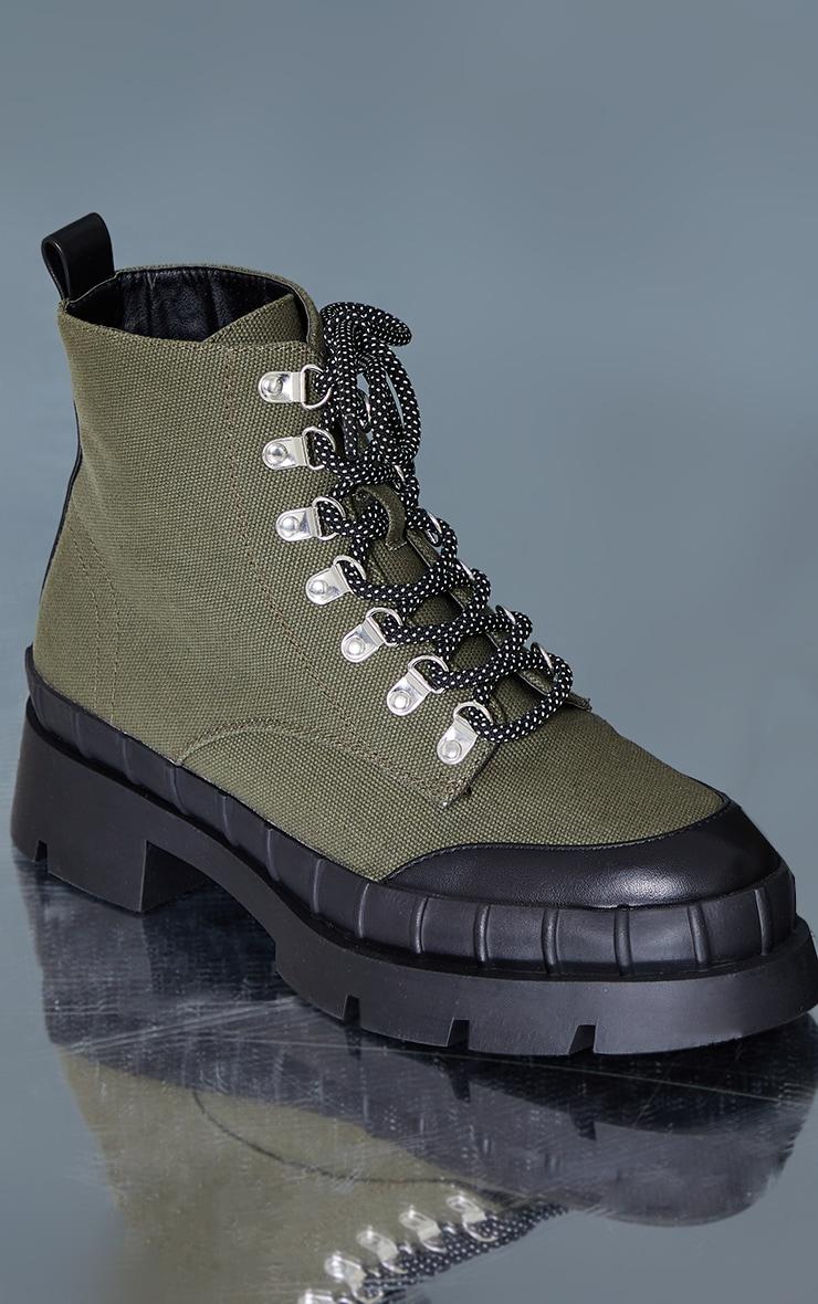 Khaki Canvas Round Toe Cap Hiker Lace Ankle Boots 4