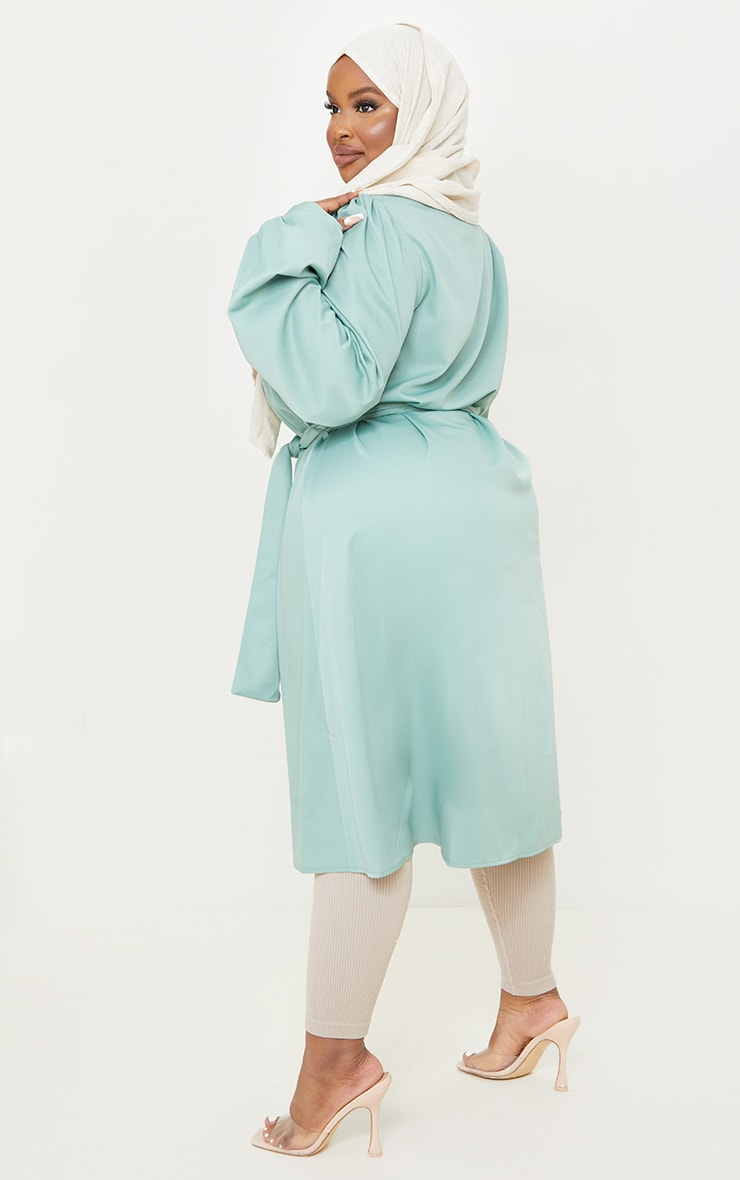 Plus Sage Green Wrap Front Puff Sleeve Shirt Dress 2