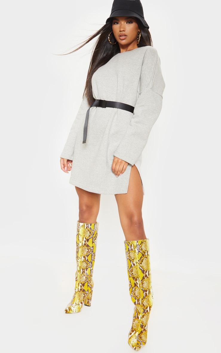 Grey Marl Oversized Side Split Sweater Dress 1