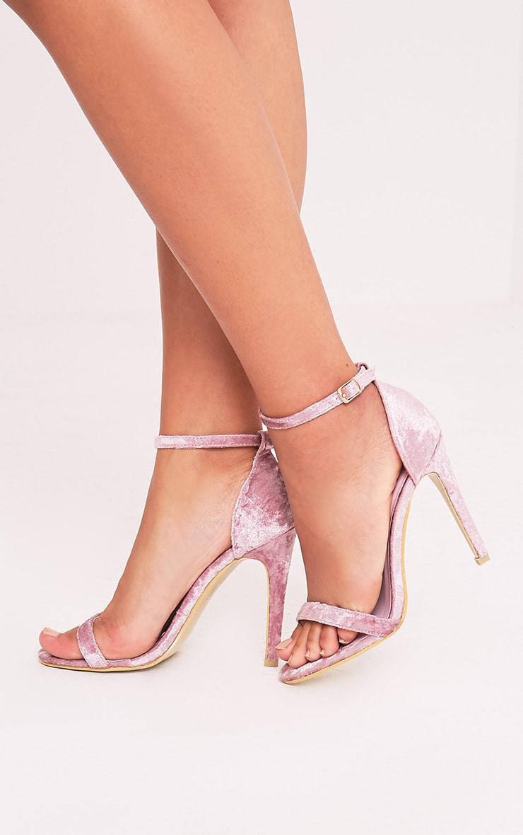72ef70aac99 Clover Blush Velvet Strap Heeled Sandals