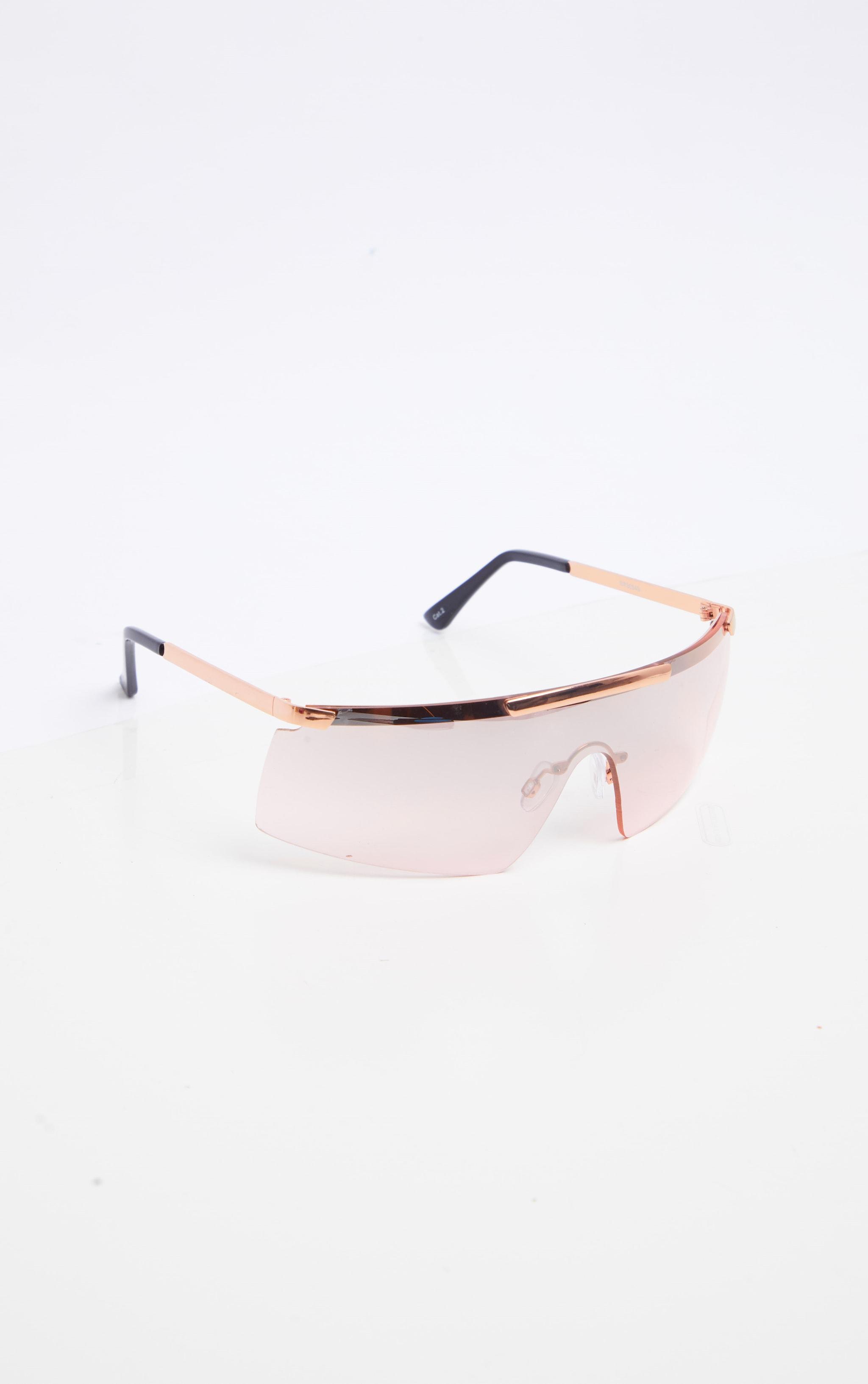 Rose Gold Tinted Flat Top Frameless Visor Sunglasses 2