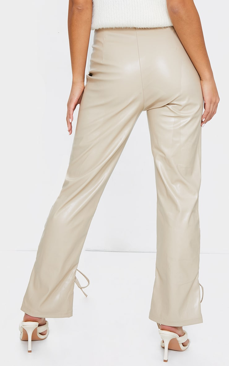 Petite Stone Ruched Hem PU Pants 3