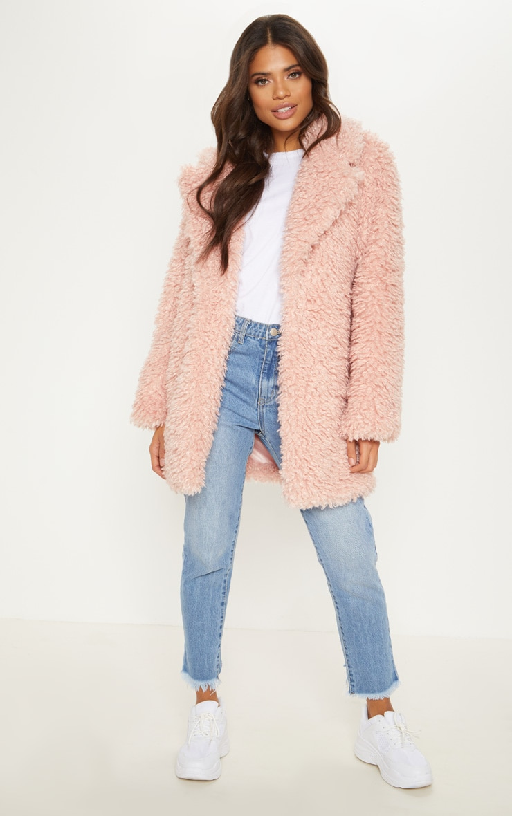 Pink Teddy Faux Fur Coat   1