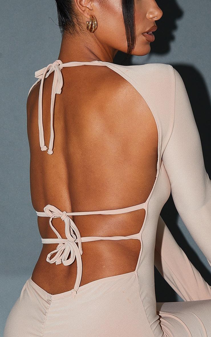 Stone Slinky Long Sleeve Open Tie Back Midaxi Dress 4