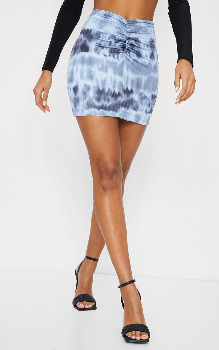 Navy Tie Dye Slinky Ruched Front Mini Skirt 2