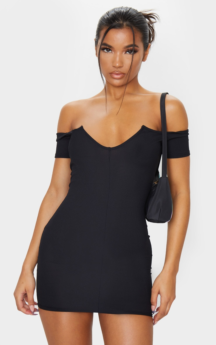 Black Ribbed Plunge Bardot Bodycon Dress 1