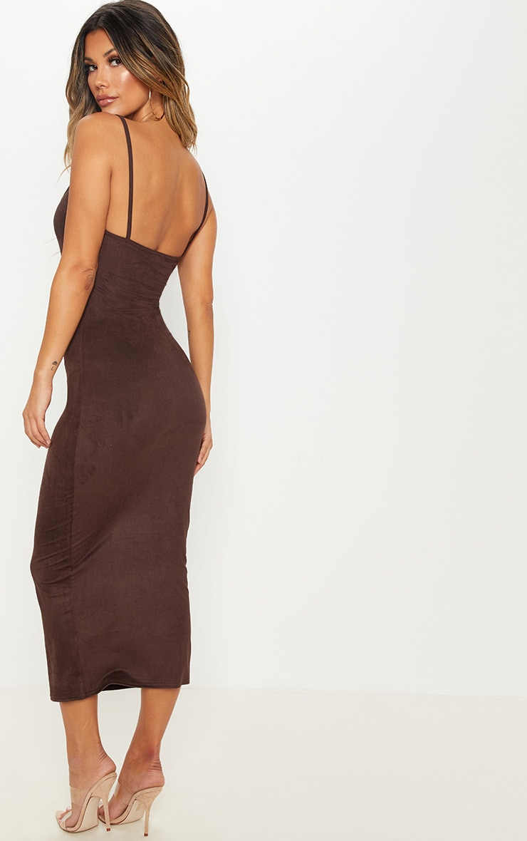 Chocolate Strappy Faux Suede Midi Dress 2