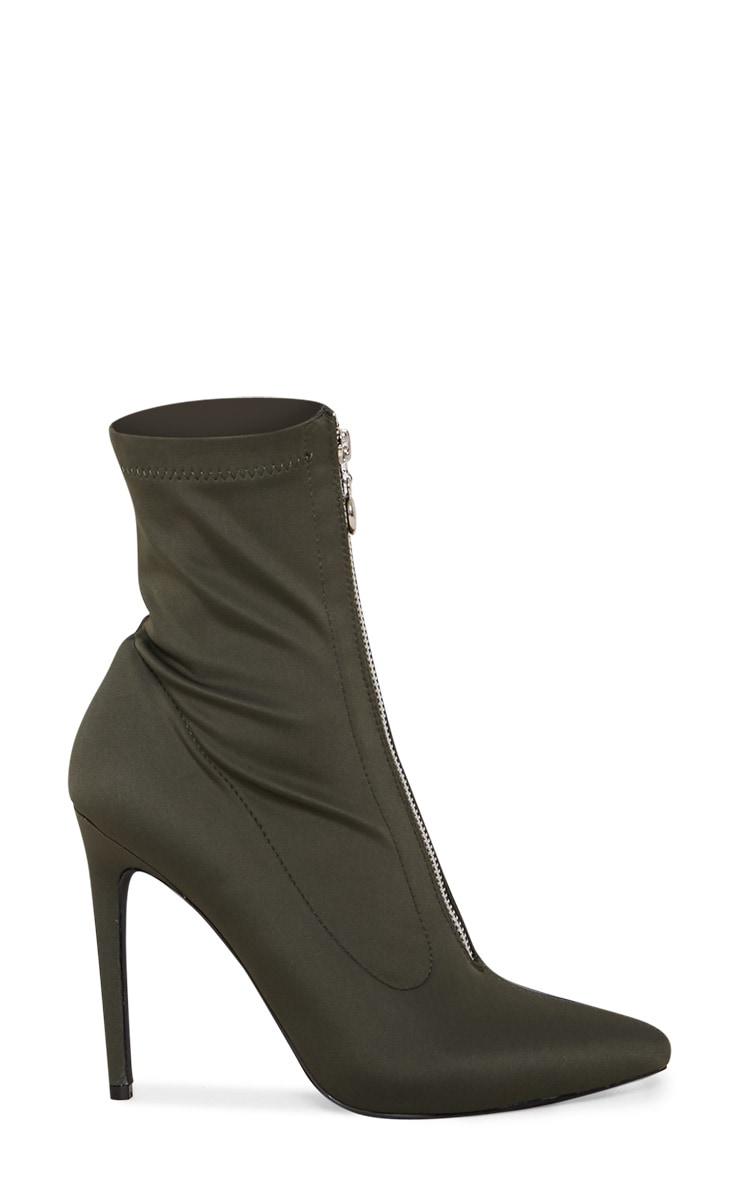 Khaki Lycra Zip Front Sock Boot 3
