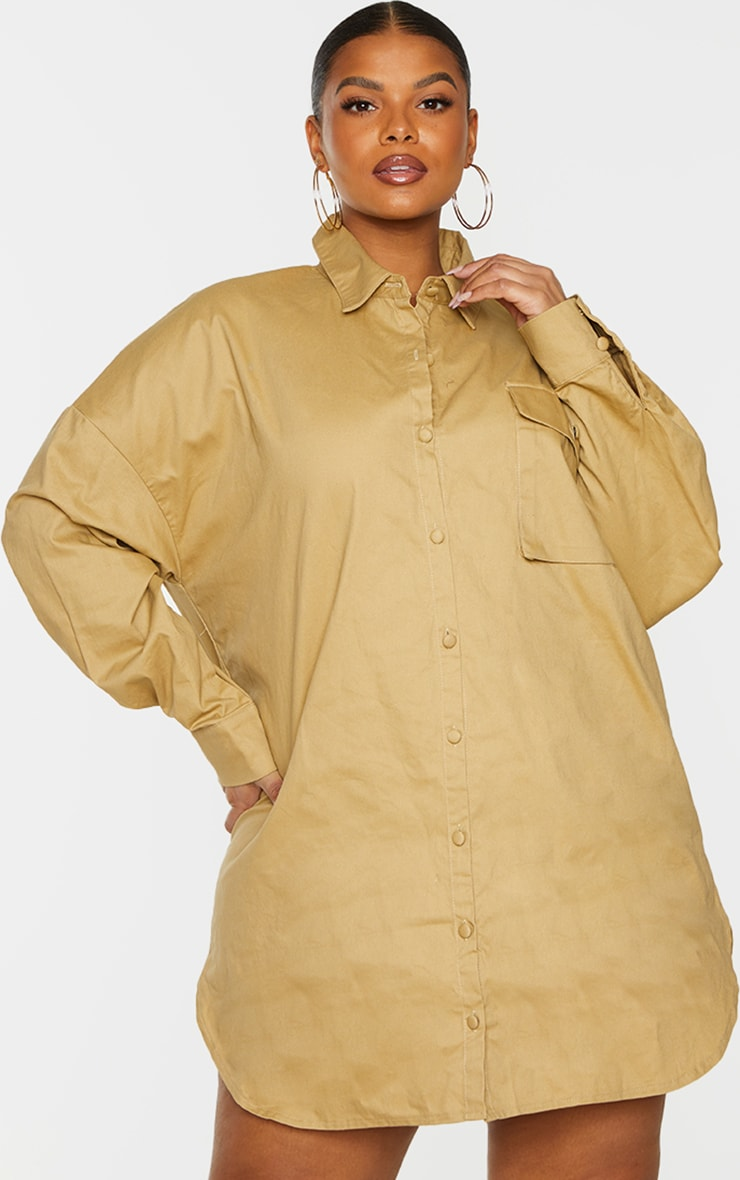 PRETTYLITTLETHING Plus Sand Embroidered Oversized Shirt Dress 2