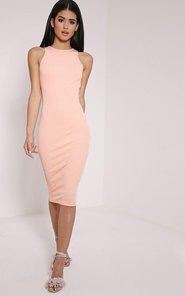 Jazmine Peach Ribbed Midi Dress 3