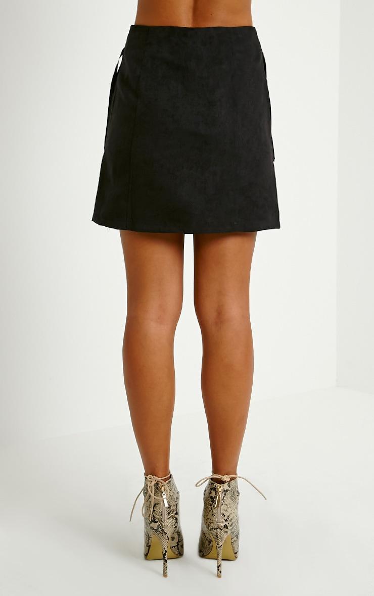 Mariette Black Suede Tassel Skirt 4
