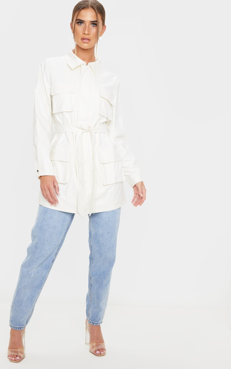 White Faux Leather Pocket Oversized Jacket 1