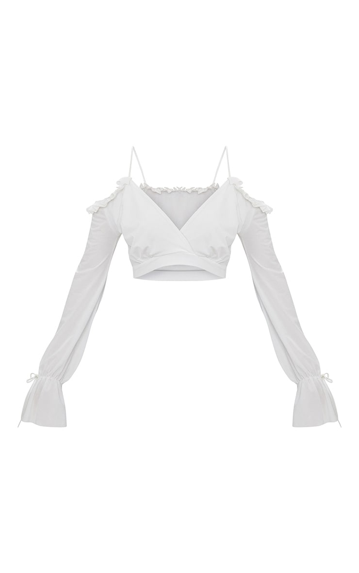 White Slinky Spaghetti Strap Cold Shoulder Crop Top 3