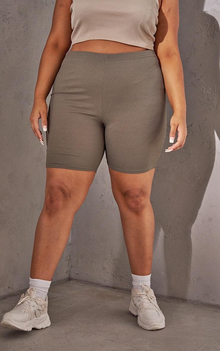 RENEW Plus Khaki Rib Cycle Shorts 2