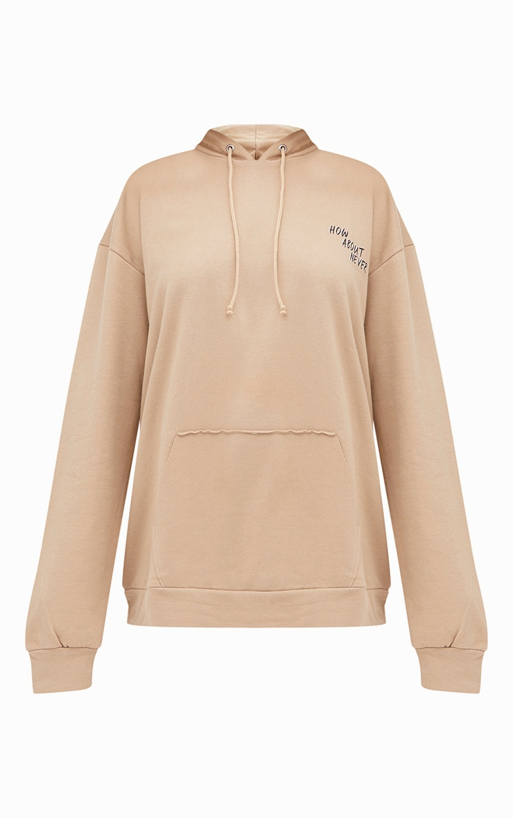 Taupe How About Never Slogan Oversized Hoodie  3