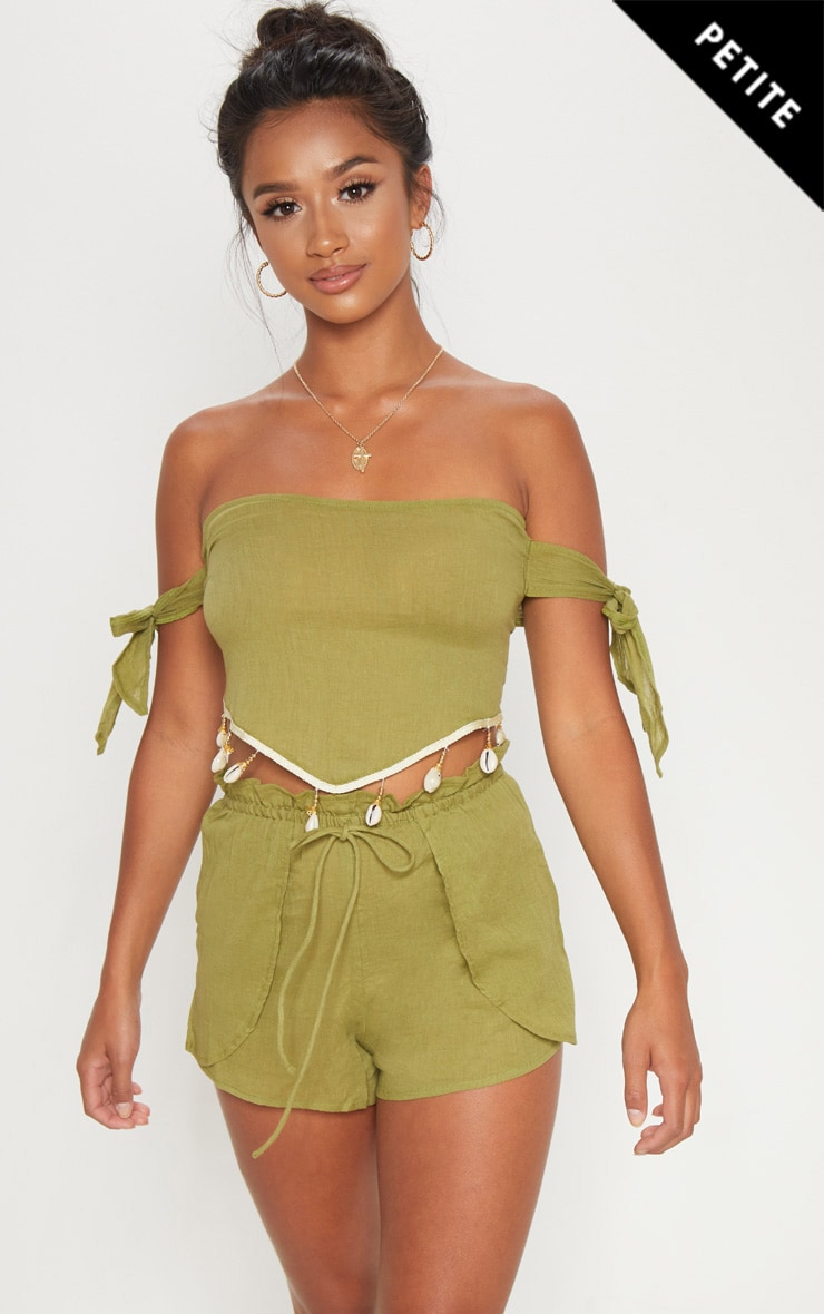 Petite Olive Cheesecloth Runner Shorts