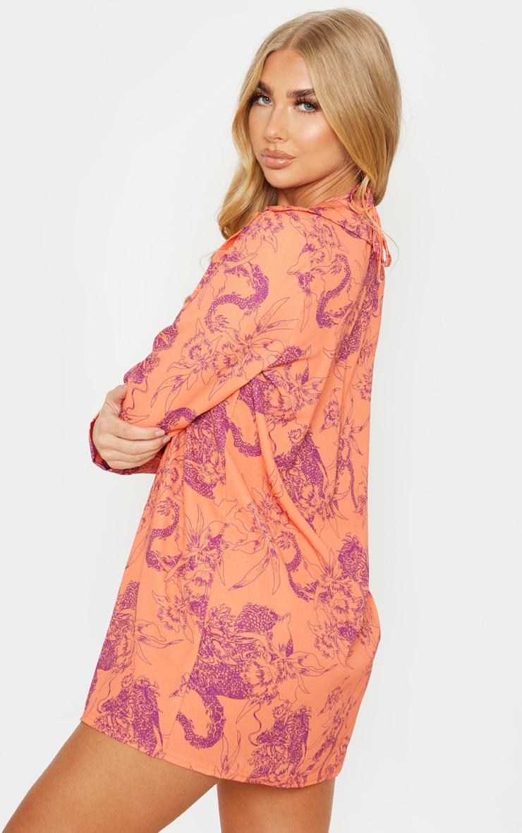 Orange Floral Print Beach Shirt 2