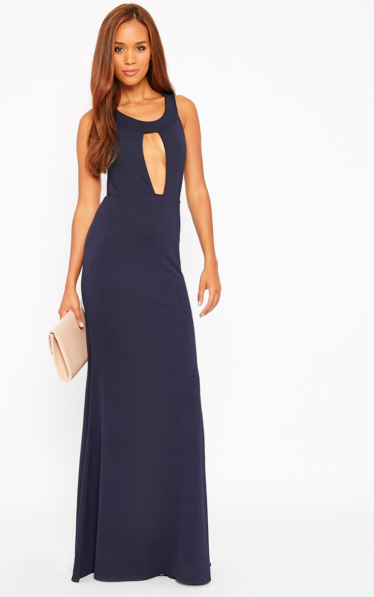 Brandy Navy Plunge Maxi Dress 1