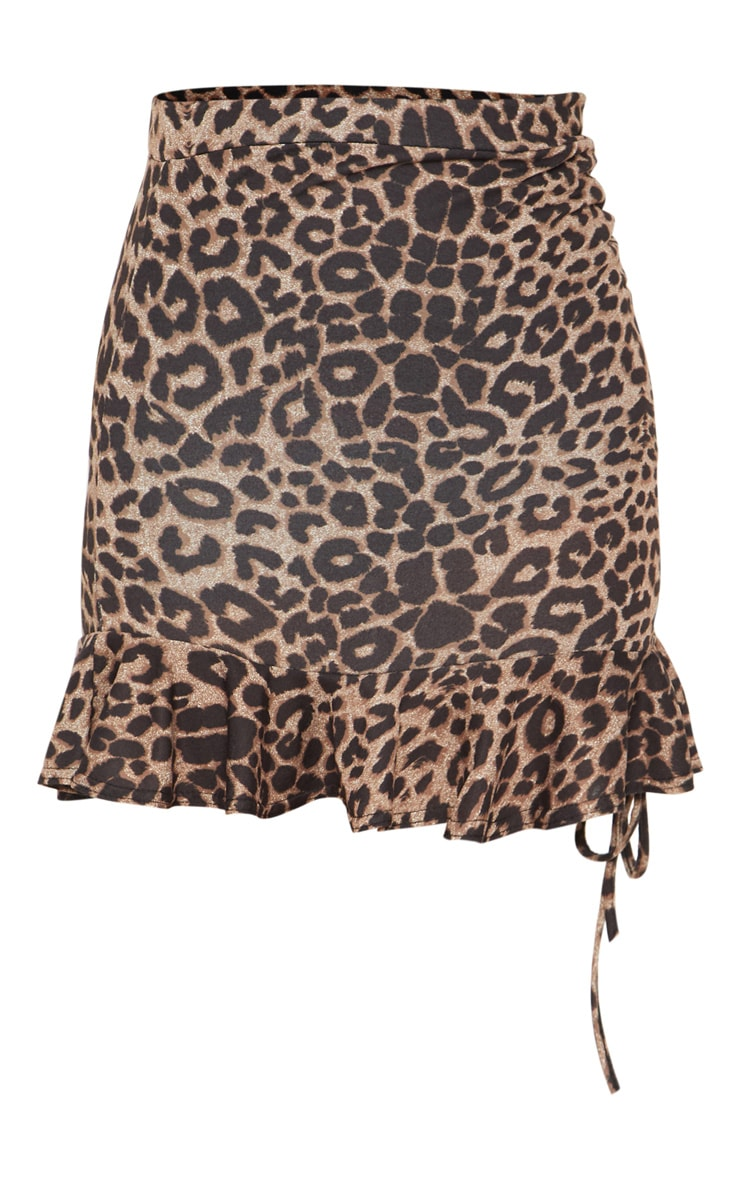 True Leopard Printed Ruched Detail Mini Skirt 3