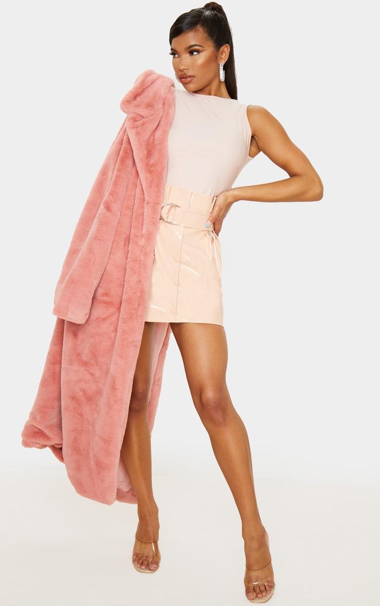 Blush Vinyl Belted Paperbag Mini Skirt 1
