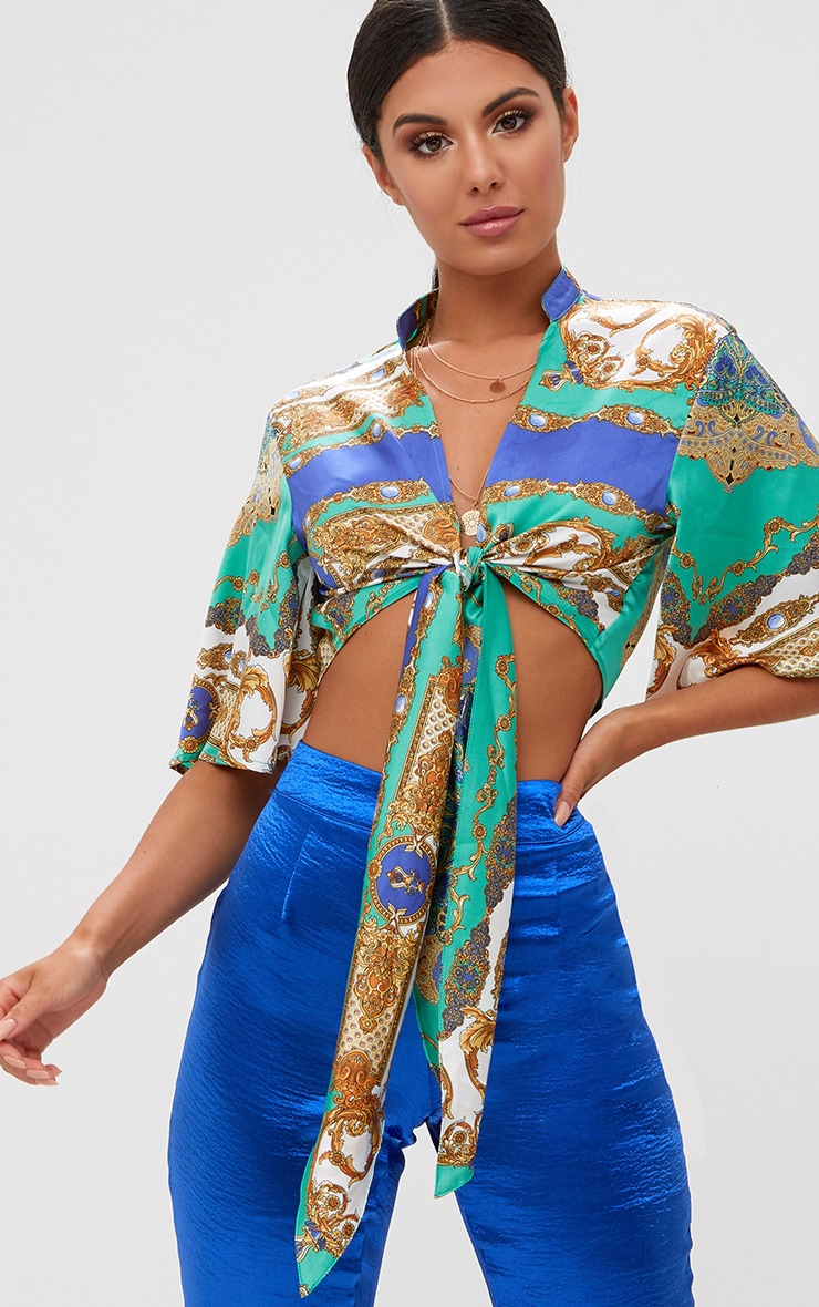 Blue Scarf Print Flare Sleeve Tie Front Crop Top 1