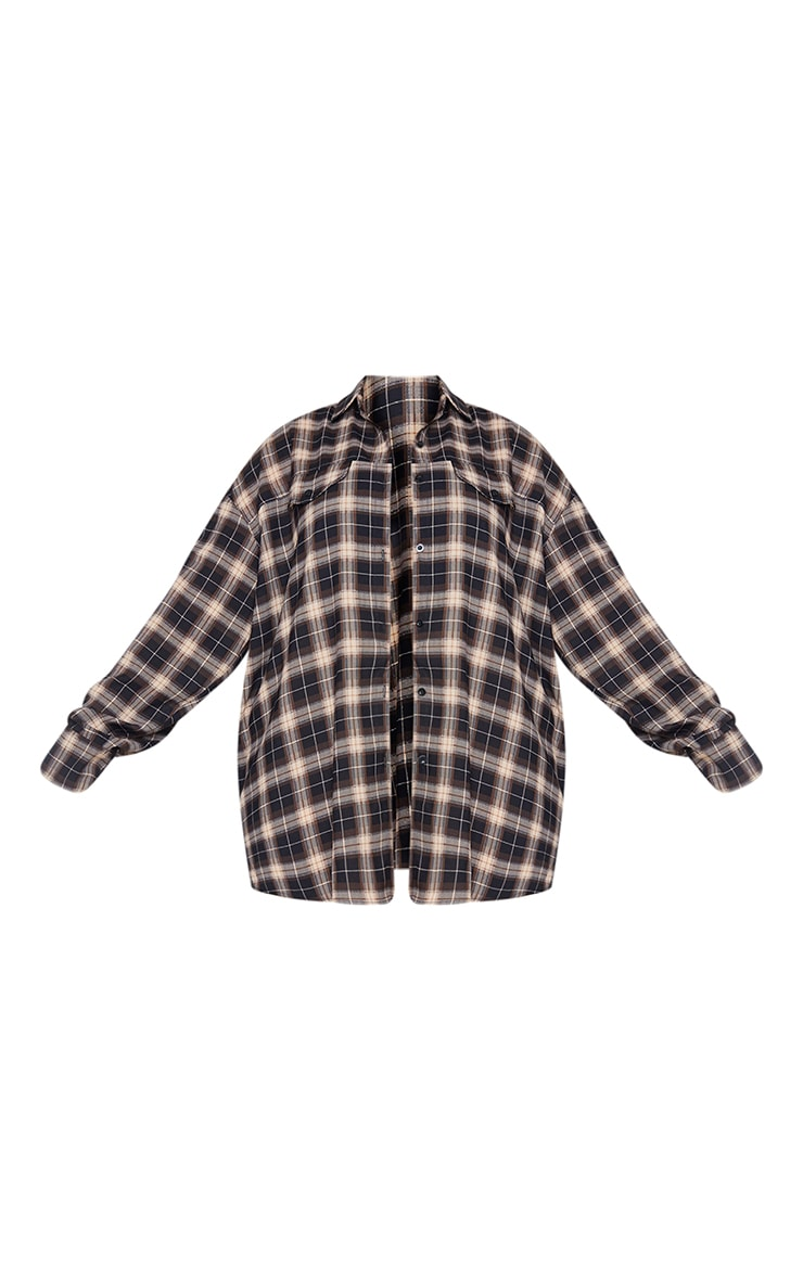 Plus Chocolate Brown Checked Oversized Shirt 5
