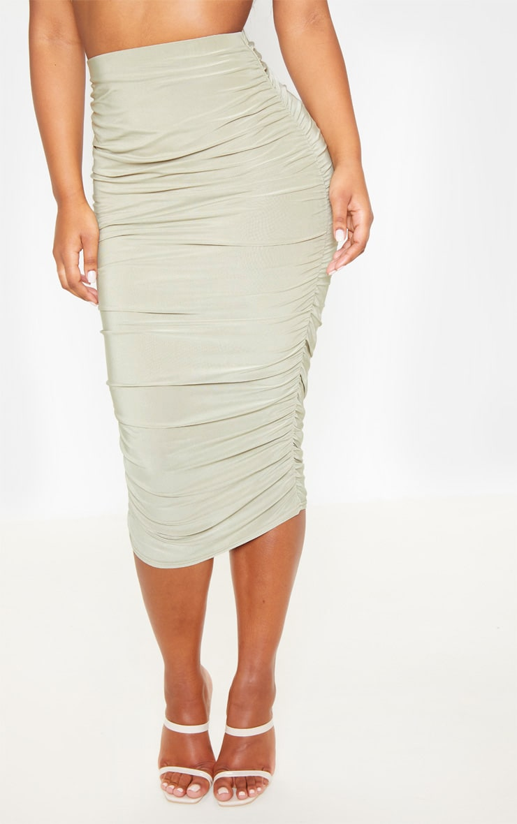 Sage Green Slinky Second Skin Ruched Midi Skirt 2