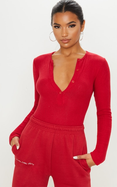 Scarlet Brushed Rib Button Long Sleeve Bodysuit