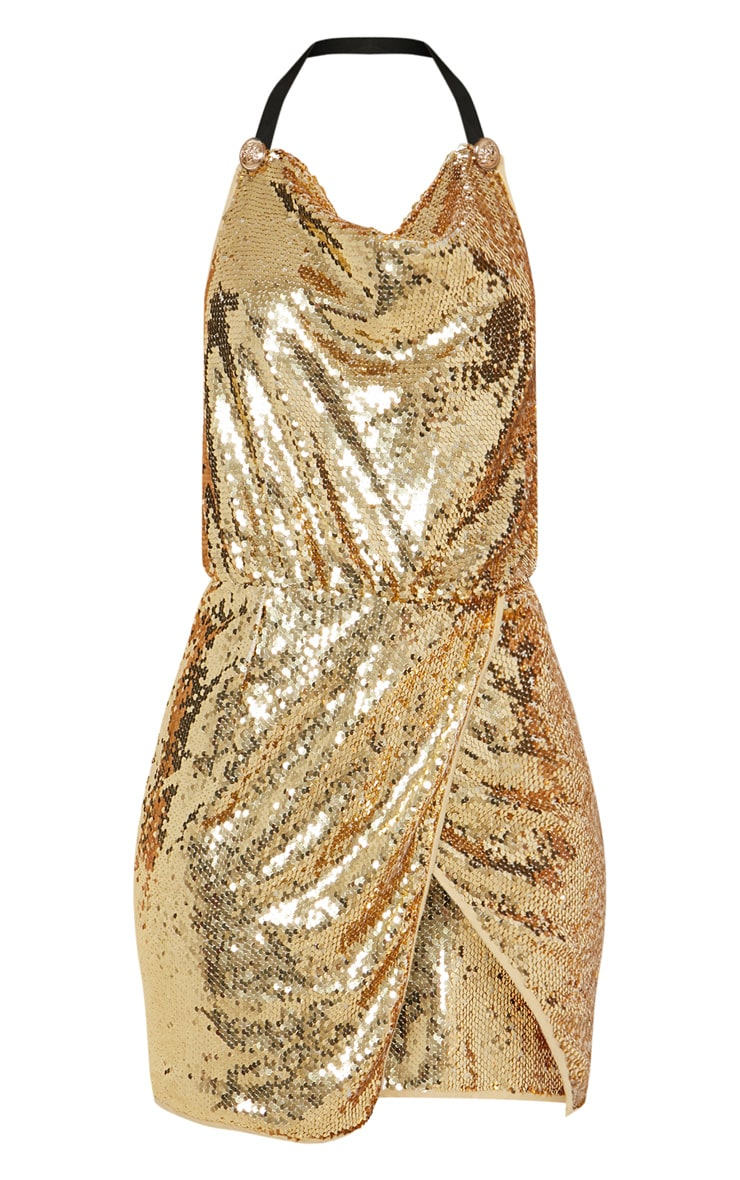 Gold Sequin Cowl Neck Bodycon Dress 3