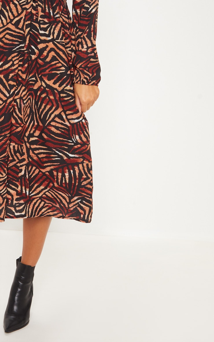 Black Tiger Print Tie Front Midi Dress 5