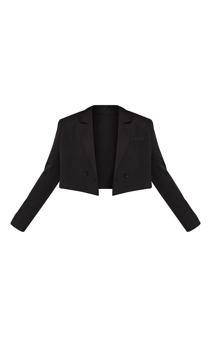 Black Woven Cropped Shoulder Padded Blazer 5