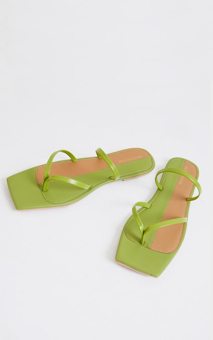 Sage Green Real Leather Toe Loop Slide On Square Toe Sandals 4