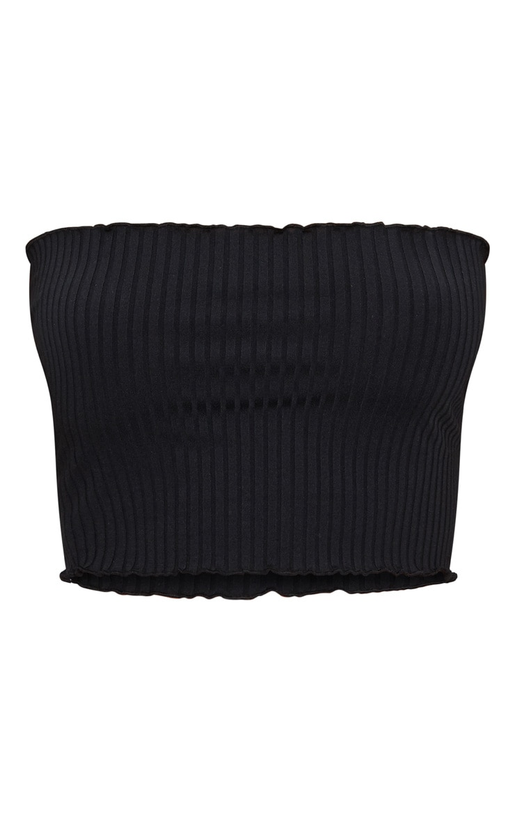 Black Rib Frill Hem Bandeau Crop Top 3
