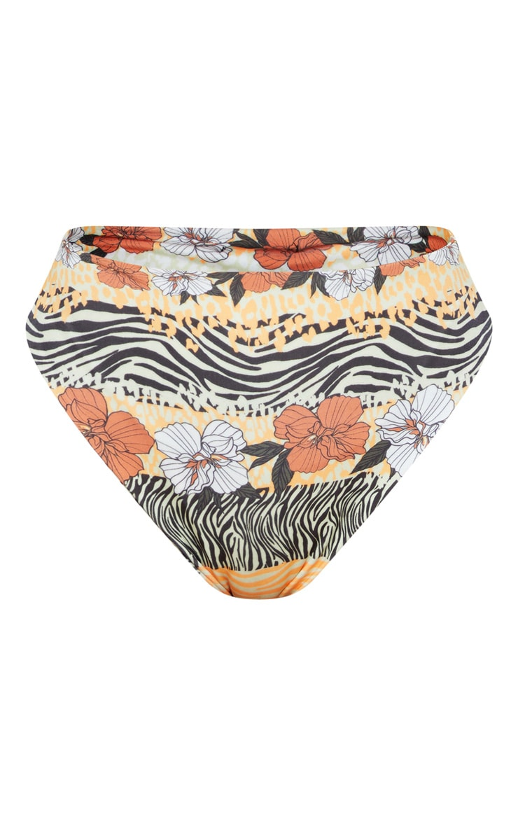 Orange Striped Floral High Waist High Leg Bikini Bottom 3