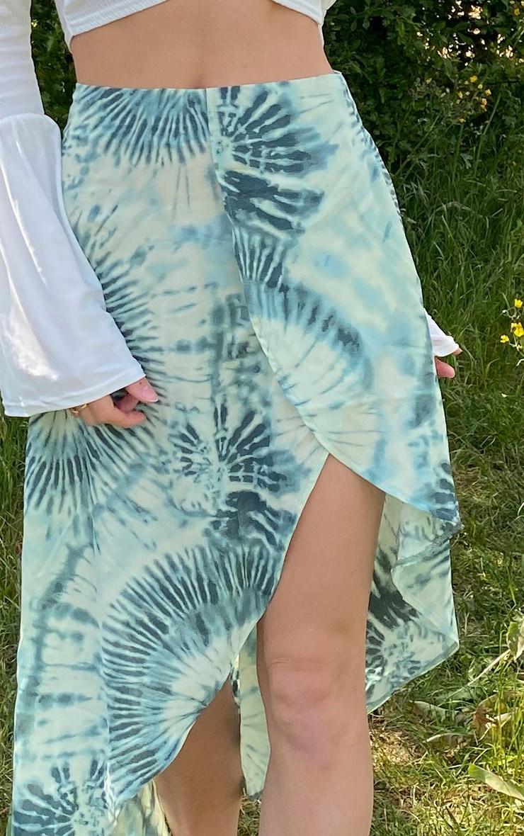 Green Tie Dye Satin Asymmetric Skirt 4