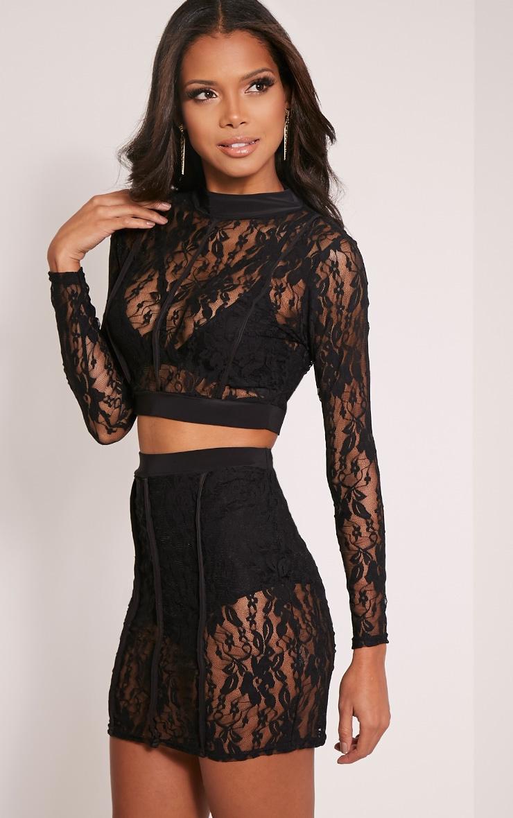 Oliviana Black Sheer Lace Crop Top 4