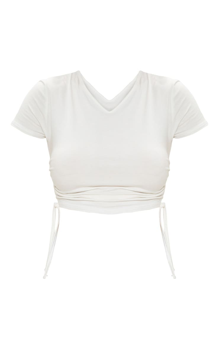White Jersey V Neck Ruched Side T Shirt 3
