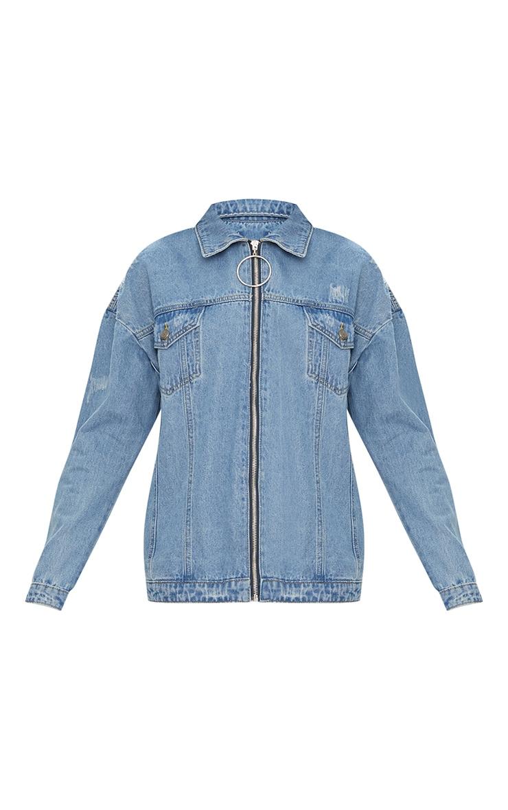 Mid Wash Ring Pull Oversized Denim Jacket 3